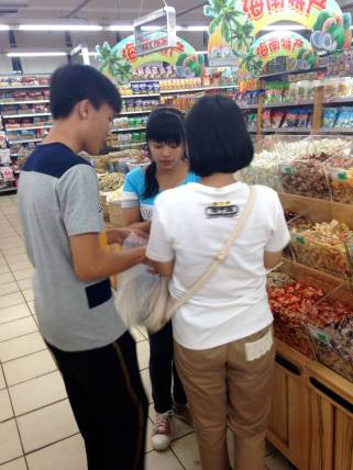 Students shopping over the weekend with their teacher