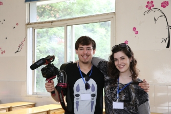 The film crew on the first day of orientation, 2015