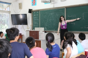 Ellie leading class 6 during the first session of Learning Journey in China 2015